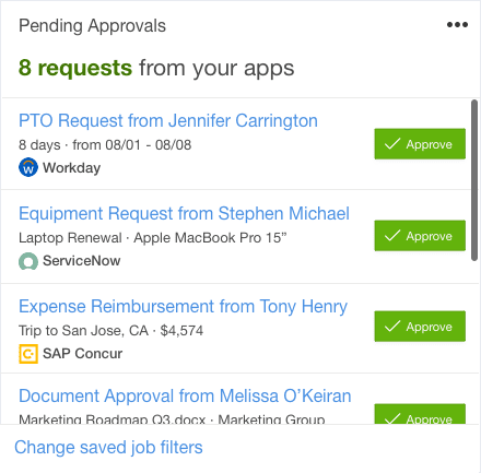 Pending approvals Card