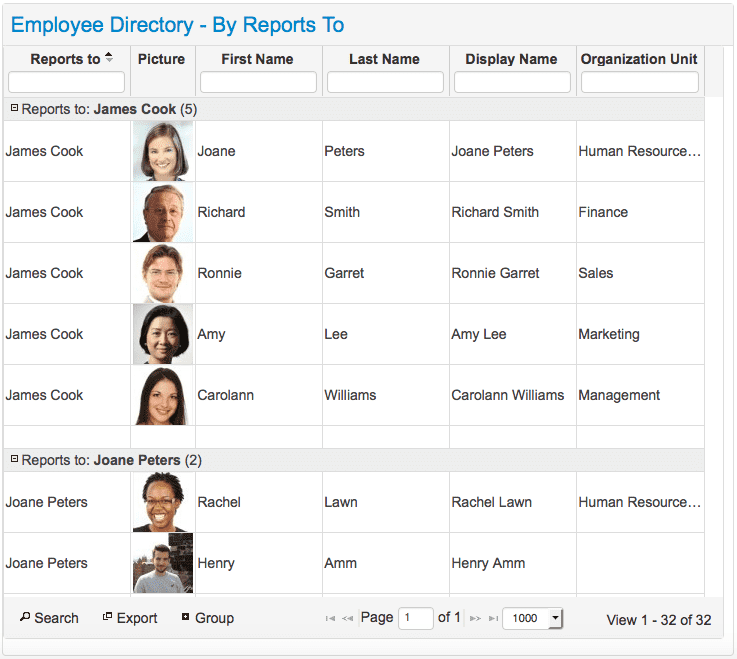 Social Intranet Employee Directory