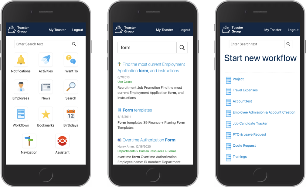 Intranet platform with mobile layouts