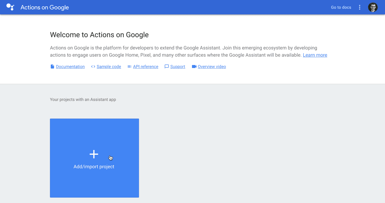 Add Google Assistant project