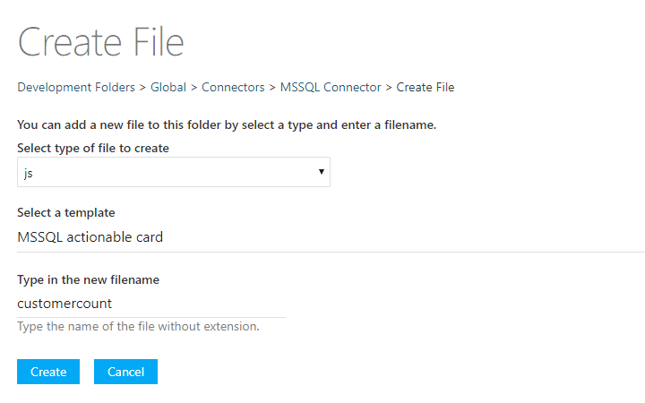 The file creation screen