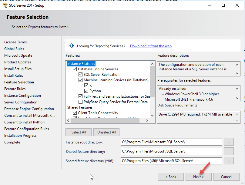 SQL Server Install Feature install selection screen