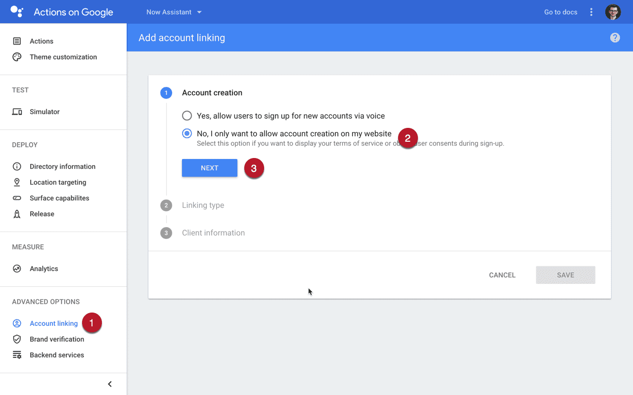 Account linking on Google Actions