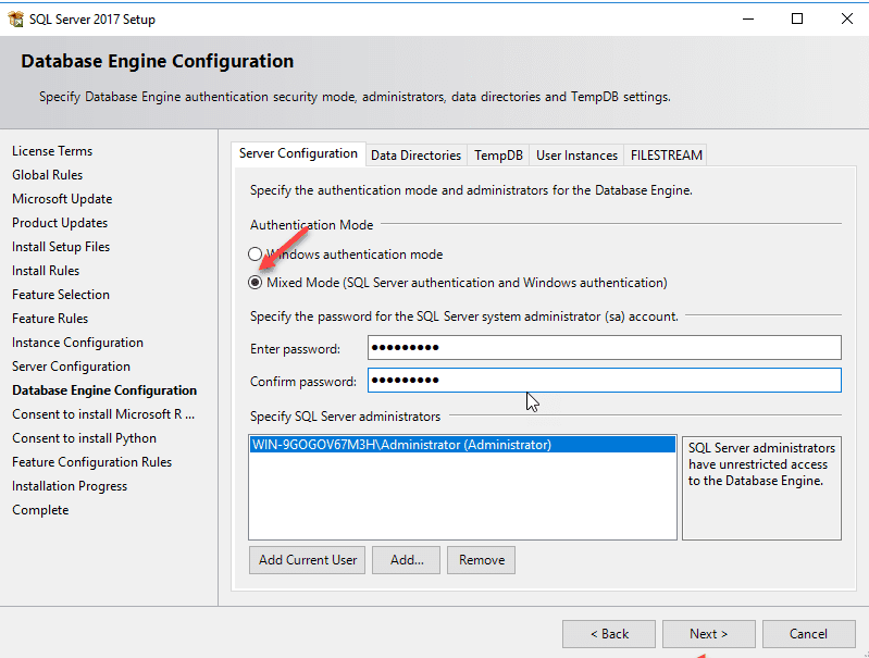 SQL Server Install Set Mixed Authentication mode