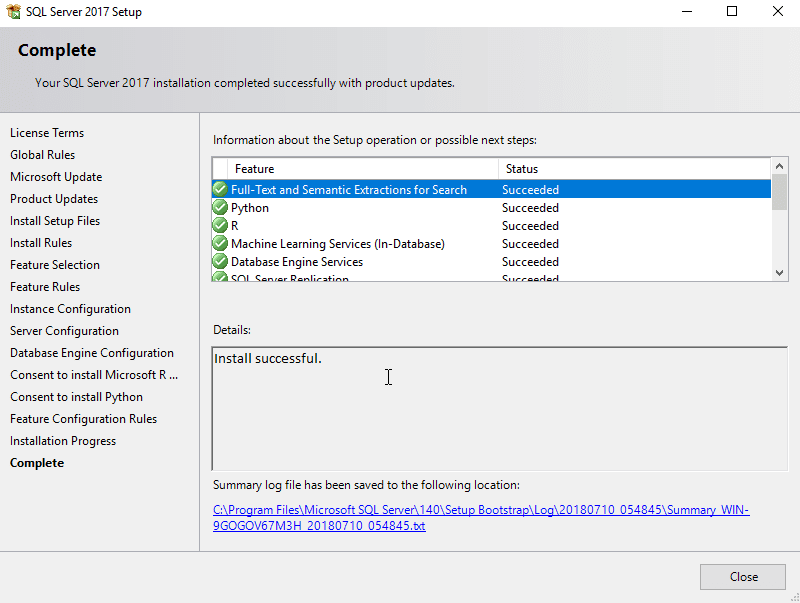 SQL Server Installation Success