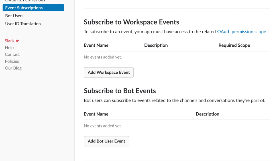 Subscribe to Bot Events section