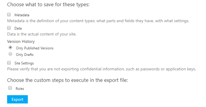 Set Export settings