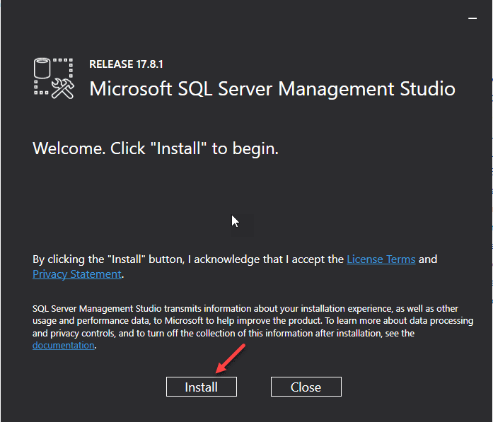 SQL Management Studio starting screen