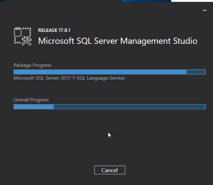 SQL Management Studio Installation progress