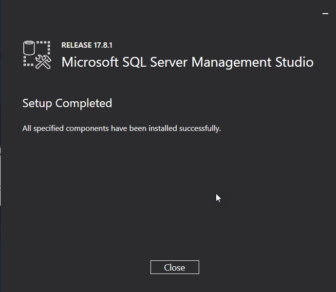 SQL Management Studio installation restart prompt