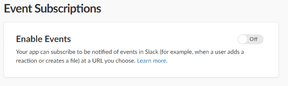 Enable Slack events