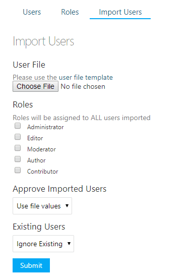 User import section