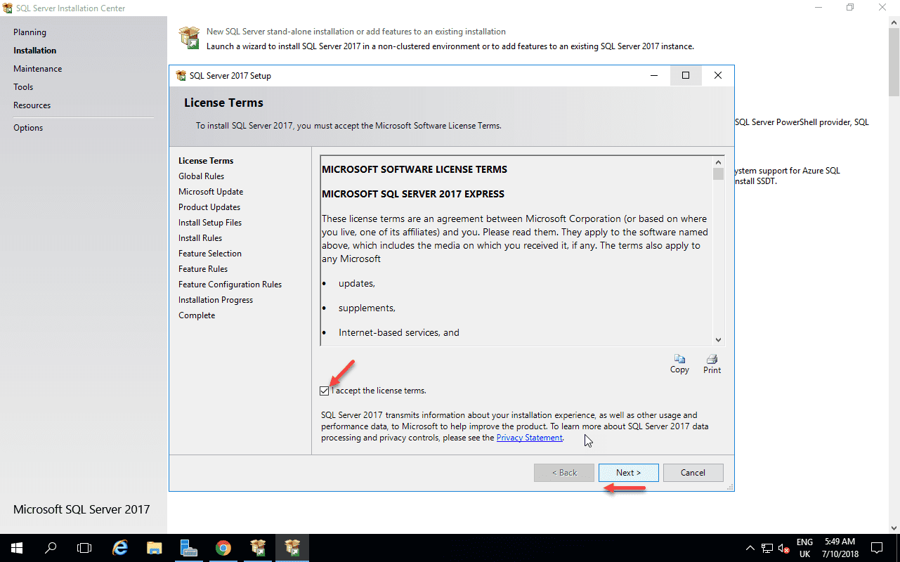 SQL Server Accept Agreement Screen