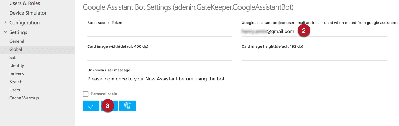 Enable test mode on Now Assistant