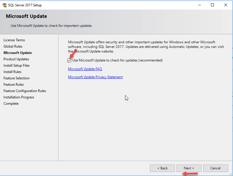 SQL Server Install Check for updates