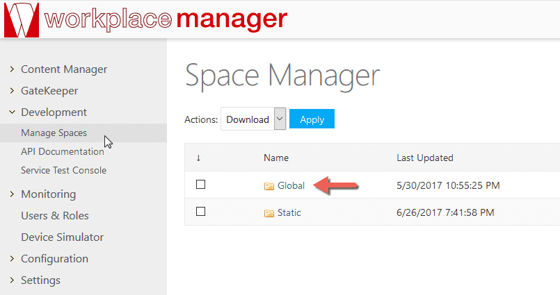 Manage Spaces interface