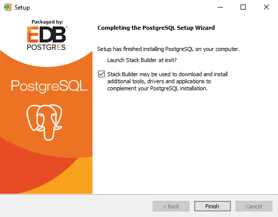 PostgreSQL Installation finish
