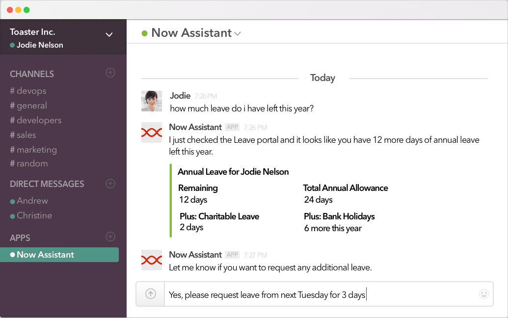 The intelligent assistant Now Assistant integrates with Slack via Slack Apps
