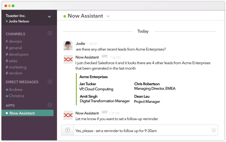 smart assistant for work example