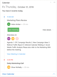 Digital Assistant Card showing an overview of today's calendar events for a user, with quick-action buttons