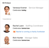 Digital Assistant Card showing upcoming birthdays for team members