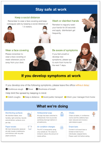 Printable poster with employee advice for staying safe and preventing the spread of COVID-19