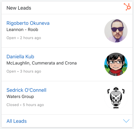 List of new contacts in Hubspot CRM