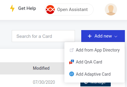 Add a new Adaptive Card to your Digital Assistant